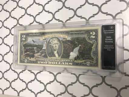Yellowstone National Park $2 Dollar Bill