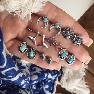 14 Pcs Bohemian Fashion Vintage Moon Cactus Mermaid Fishtail Shell Gem Earrings Set Women