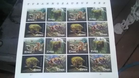 DON'S DAILY DEAL FULL SHEET OF T/REX FOREVER STAMP'S (16)-LARGE 8.80 VALUE
