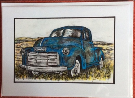 """OLD BLUE GMC TRUCK - 5 x 7"""" art card by artist Nina Struthers - GIN ONLY"""