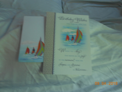 Gender Neutral Birthday Card with 3 Sail Boats and matching envelope