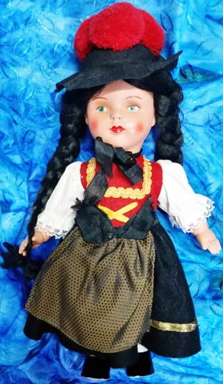 Vintage German Black Forest Doll 12""