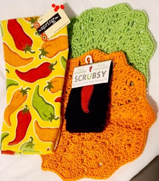 "Crochet 2 - 9"" Dish Cloth/Wash Cloths/1 EVERYDAY Terry Cloth towel & 1 Scrubby"