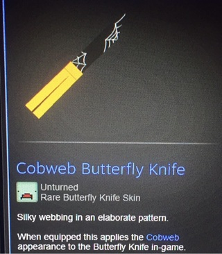 Unturned cobweb butterfly knife