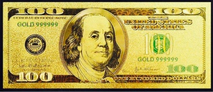 24K .999 Fine Gold $100 Novelty Bill