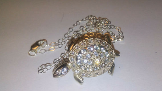Turtle Brooche Pendant 925 Sterling High Quality Pin Cubic Zirconia NWT