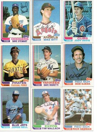 (9) 1982 Topps Baseball Rookies