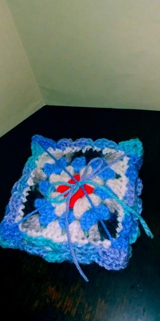 Crochet Coasters - set of 4 (B-7636)  trim is Blue, Lavender, Green mix