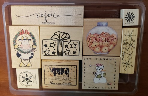 NEW - Christmas Theme Mounted Rubber Stamps - set of 9