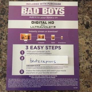 Bad Boys digital copy