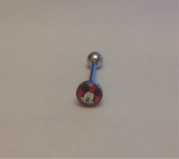 14G Disney Minnie Mouse Surgical Steel Tongue Ring