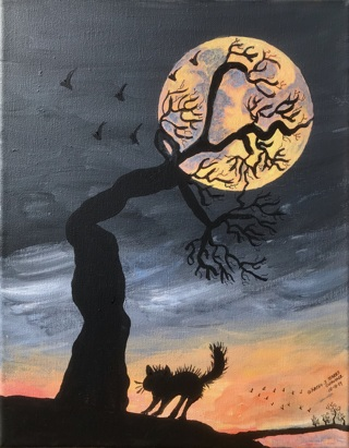 October Hunter's Full Moon Scared The Cat Painting Print