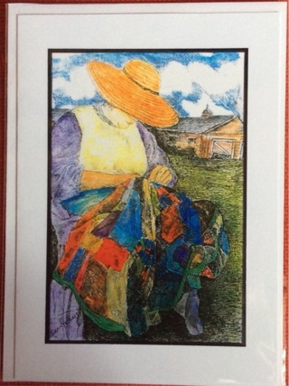 "THE QUILTER - 5 x 7"" Art Card by artist Nina Struthers - GIN ONLY"