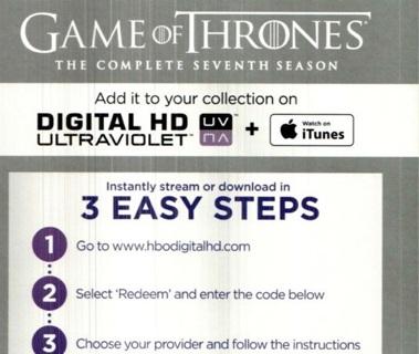 iTunes Game of Thrones Season 7 Digital Code