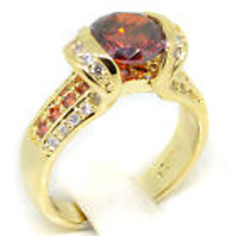Beautiful Garnet 14K Gold Plated Ring Size 7.5