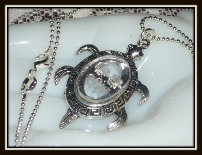 SEA Turtle TORTOISE Pendant on 925 STERLING Chain, GREEK KEY & Etched ROSES/Glass CAB Necklace NEW!