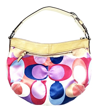 COACH #13796- Optical Art Scarf Print Sateen Hobo!