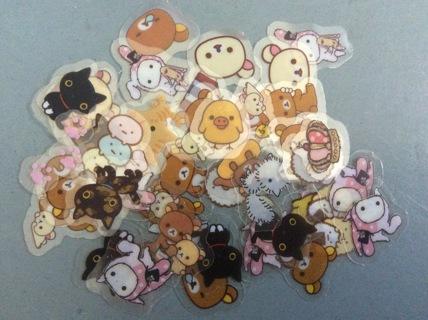 50 Kawaii San-X Mixed Characters Clear Sticker Flakes