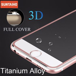 Suntaiho Full Cover Screen Protector For iPhone 7 7Plus 3D Curved Edge Alloy Metal Frame Tempered