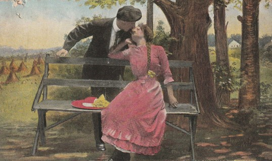 Vintage Used Postcard: I would Kiss You if Only I had the Nerve