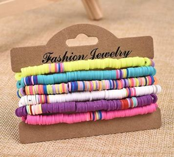 ~ NEW 6 PIECE Polymer Clay Rainbow Bracelet Elastic Rope Bracelet Boho Beaded Bracelet!! ~