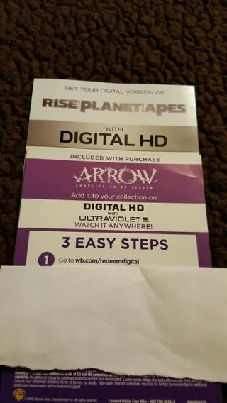 Combo listing of Rise of the Planet of the Apes & Arrow Season 3 Ultraviolet Digital Download