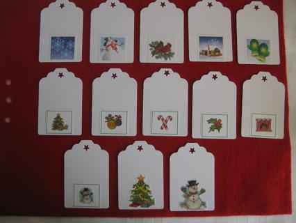 """Christmas gift tags, hand made, 12 tags, 2.75"""" x 1.75"""""""