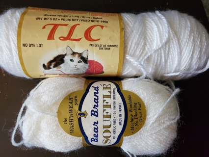 "NEW - 2 skeins - ""White"" Yarn"