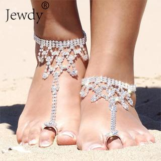 Bride New Rhinestone Flower Anklet Foot Anklet Summer Charm Toe Anklet Tassel Sandals Beach Foot
