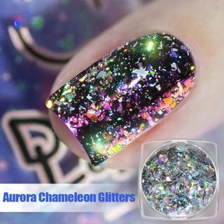 Aurora Chameleon Nail Glitter Sequins Flakes 0.2g Holographic Shining Nail Art Powder Dust Dazzlin
