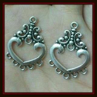 2pc Fancy HEART Chandelier Earrings Findings Tibetan Silver Charms Pendants, 25mm x 20mm, NEW!