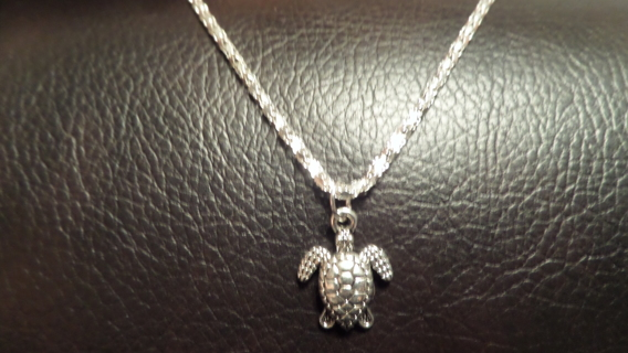 """New! To the beach! Tibetan silver turtle necklace, youth 16 1/2"""""""