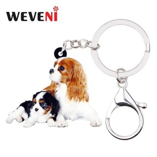 WEVENI Acrylic Cute Double Cavalier King Charles Spaniel Dog Key Chains Keychains Rings Bag Car