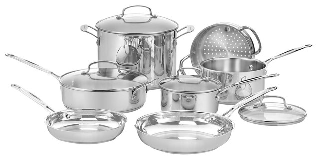 Cuisinart - Chef's Classic 11-Piece Cookware Set - Stainless-Steel