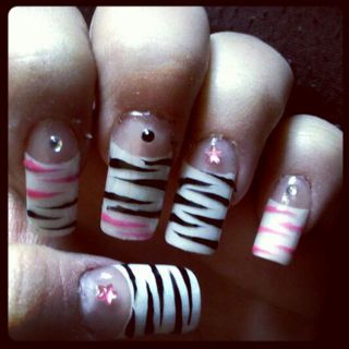 Free Diy Acrylic Nails White Tips Black And Pink Zebra Stripe