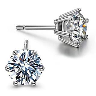 NEW .925 Sterling Silver CZ Stud Earrings Pair Cubic Zirconia Stud Earrings FREE SHIPPING
