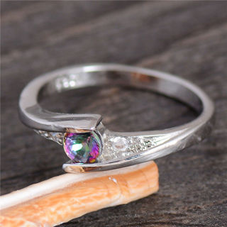 WOW, Beautiful Rainbow Mystic Topaz & CZ Ring. Silver Stamped s925, Size 8, Free Ship, Fair GIN!