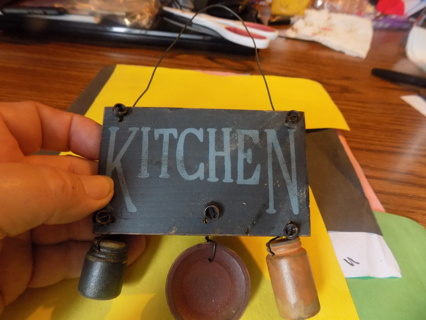 Wooden kitchen sign with wood canister & bowl dangles