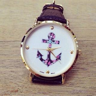 Women`s Ladies Vintage Flower Watch Anchor Leather Quartz Watch Black