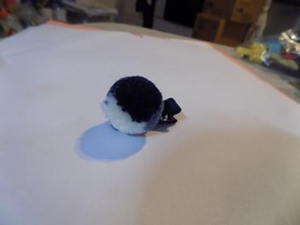 Handmade child's tri-color lg pom pom on hair clip