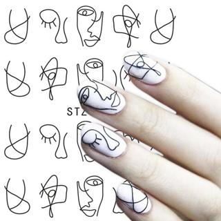 Full Beauty 1 Sheet Nail Water Sticker DIY Black Abstract Image Nail Art Paper Decoration Manicure
