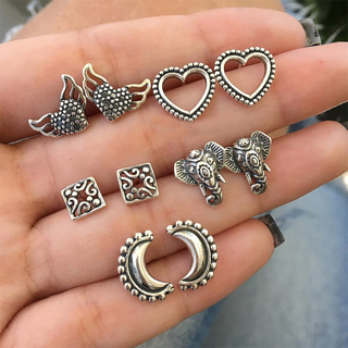 10 Pcs Bohemian Retro Elephant Heart Wing Moon Square Silver Earrings Set Ladies Jewelry Gift