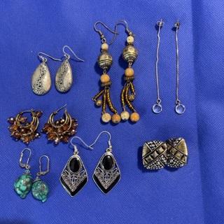 Earrings lot of 7-vintage silver