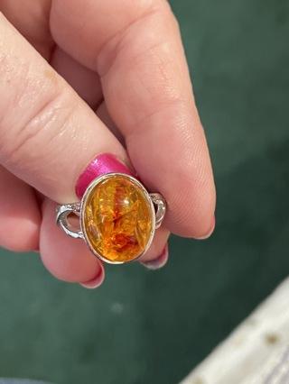 Bohemian orange ring beautiful ~9