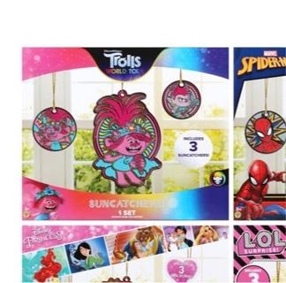 Trolls World Tour Licensed Character Mega Paintable Suncatchers, 3 ct. Packs