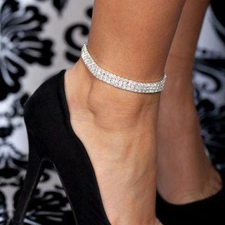 Elastic Anklet Stretch Anklets Women Boho Crystal Bracelet Cheville Barefoot Sandals Pulseras