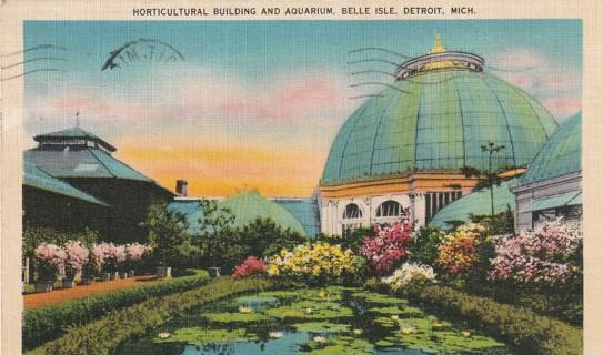 Vintage Used Postcard: 1941 Horticulture Bldg & Aquarium, Belle Isle, Detroit, MI