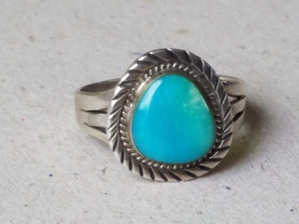 Large Vintage Turquoise Gemstone Sterling Silver Navajo Native American Ring Size 14