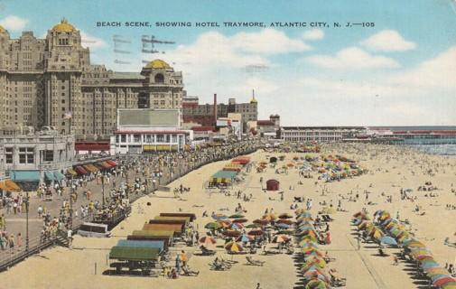 Vintage Used Postcard: 1945 Beach Scene, Hotel Traymore, Atlantic City, NJ