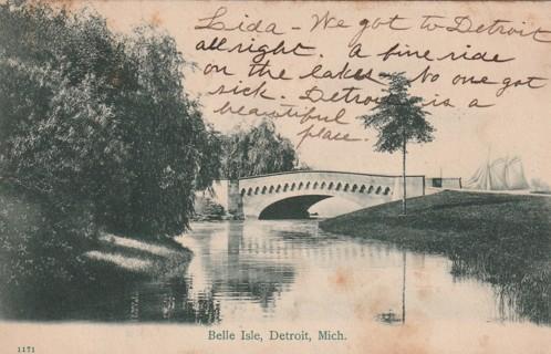 Vintage Used Postcard: 1905 Belle Isle, Detroit, MI